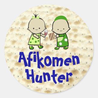 Pegatinas del cazador de Afikomen Pegatina Redonda