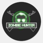 Pegatinas del cazador del zombi etiqueta redonda