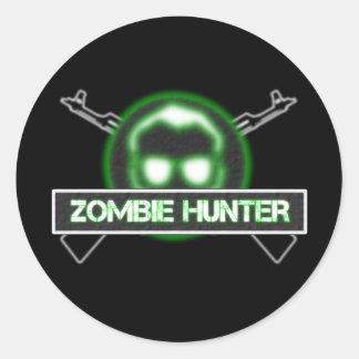 Pegatinas del cazador del zombi pegatina redonda