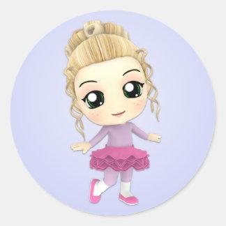 Pegatinas del chica de Chibi de la bailarina Pegatina Redonda