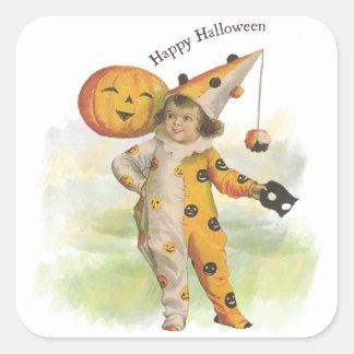 Pegatinas del chica de Halloween del vintage y de Pegatina Cuadrada