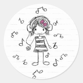 Pegatinas del chica de la música pegatina redonda