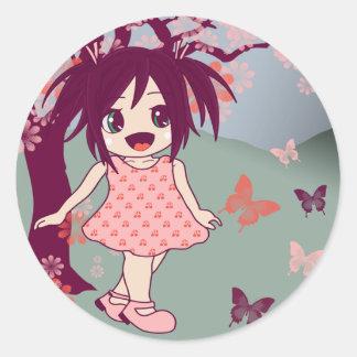 Pegatinas del chica de Manga del animado de Chibi Etiquetas Redondas