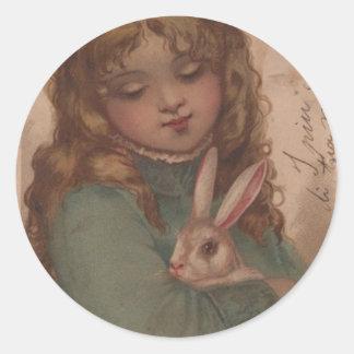 Pegatinas del chica de Pascua del Victorian Pegatina Redonda