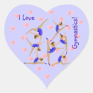 Pegatinas del chica del gimnasta pegatina corazón