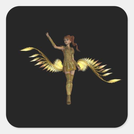 Pegatinas del chica del guerrero pegatina cuadradas personalizadas