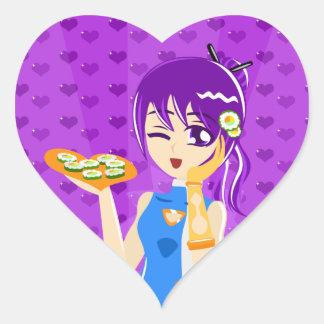 pegatinas del chica del sushi pegatina en forma de corazón