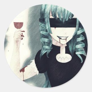 Pegatinas del chica del vampiro del animado pegatina redonda