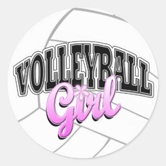Pegatinas del chica del voleibol pegatina redonda
