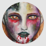 Pegatinas del chica del zombi pegatina redonda