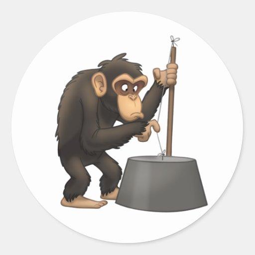 Pegatinas del chimpancé del Washtub-Bajo-Playin' Pegatina Redonda