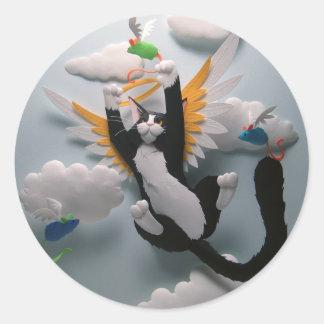 Pegatinas del cielo del gato pegatina redonda
