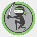 Pegatinas del cinturón verde de Ninja Etiqueta Redonda