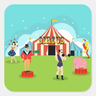 Pegatinas del circo del vintage pegatina cuadrada