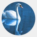 Pegatinas del cisne mudo etiqueta redonda