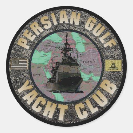 Pegatinas del club náutico del Golfo Pérsico Pegatina Redonda