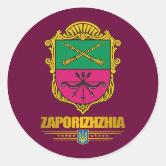 "Pegatinas del COA ""de Zaporizhia (Zaporozhye)"" Etiqueta Redonda"