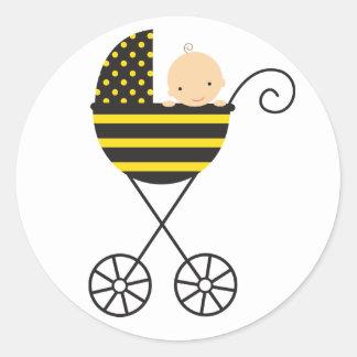 Pegatinas del cochecito de bebé de la abeja pegatina redonda