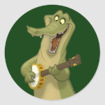 Pegatinas del cocodrilo del Banjo-Strummin' Pegatina Redonda
