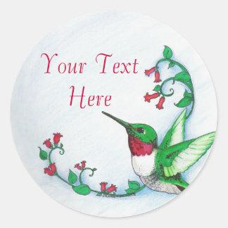 Pegatinas del colibrí etiqueta redonda