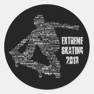Pegatinas del collage de la palabra del skater pegatina redonda