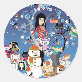 Pegatinas del collage del invierno de Kitsu Etiquetas Redondas