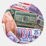 Pegatinas del collage del sello de los E.E.U.U. Pegatina Redonda