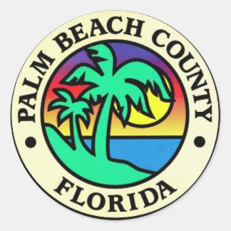 Pegatinas del condado de Palm Beach la Florida Pegatina Redonda