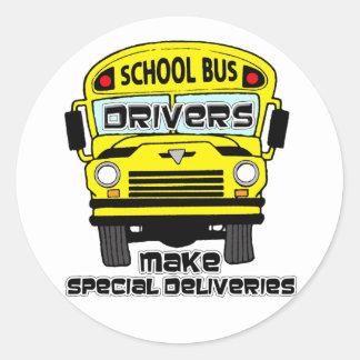 Pegatinas del conductor del autobús escolar pegatina redonda
