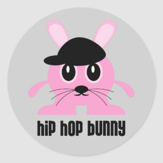 Pegatinas del conejito de Hip Hop Pegatina Redonda