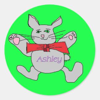 pegatinas del conejito de la diversión del ashley etiquetas redondas