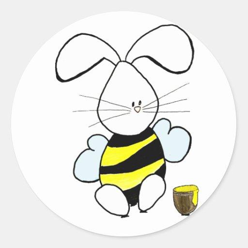 Pegatinas del conejito de la miel etiqueta redonda