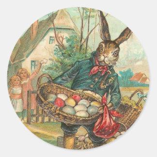 Pegatinas del conejito de pascua del vintage etiquetas redondas