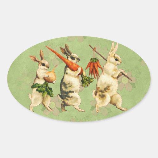 Pegatinas del conejito de pascua del vintage pegatina ovalada