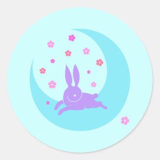 Pegatinas del conejo de la luna etiqueta redonda