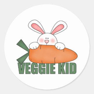 Pegatinas del conejo del niño del Veggie Etiqueta Redonda