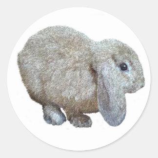 Pegatinas del conejo del oído de Holanda Lop Etiqueta Redonda