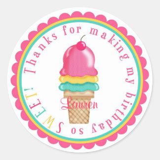 Pegatinas del cono de helado pegatina redonda