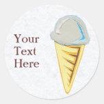 Pegatinas del cono de helado pegatinas redondas