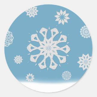 Pegatinas del copo de nieve pegatina redonda