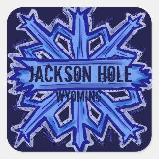 Pegatinas del copo de nieve de Jackson Hole Pegatina Cuadrada