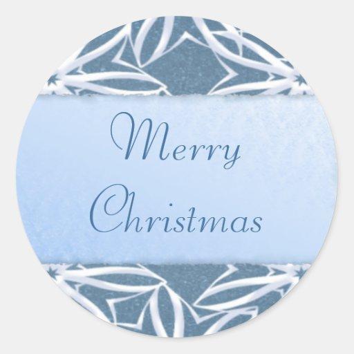 Pegatinas del copo de nieve de las Felices Navidad Pegatina Redonda