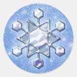 Pegatinas del copo de nieve del navidad pegatina redonda