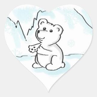 Pegatinas del corazón con el oso polar Ilustration Pegatina Corazón Personalizadas