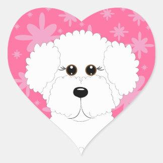 Pegatinas del corazón de Bichon Frise Pegatina En Forma De Corazón