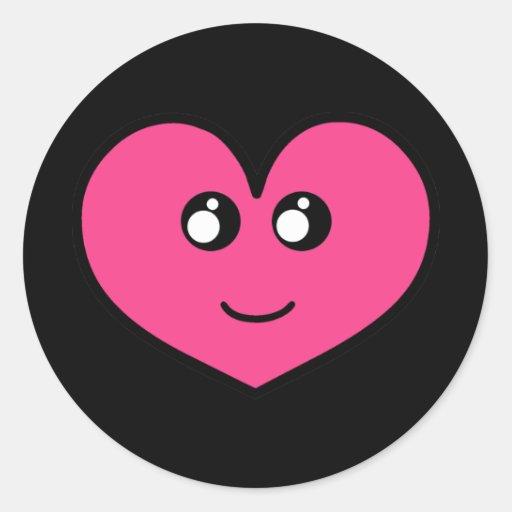 Pegatinas del corazón de Kawaii Etiqueta Redonda