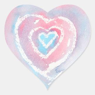 Pegatinas del corazón de la acuarela y del creyón pegatina en forma de corazón