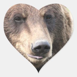 Pegatinas del corazón de la cara del oso pegatina en forma de corazón