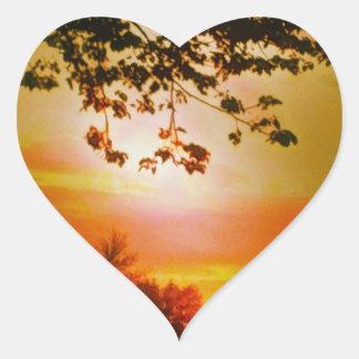 Pegatinas del corazón de la puesta del sol pegatina en forma de corazón