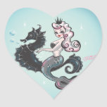 Pegatinas del corazón de la sirena de Pearla Calcomania Corazon